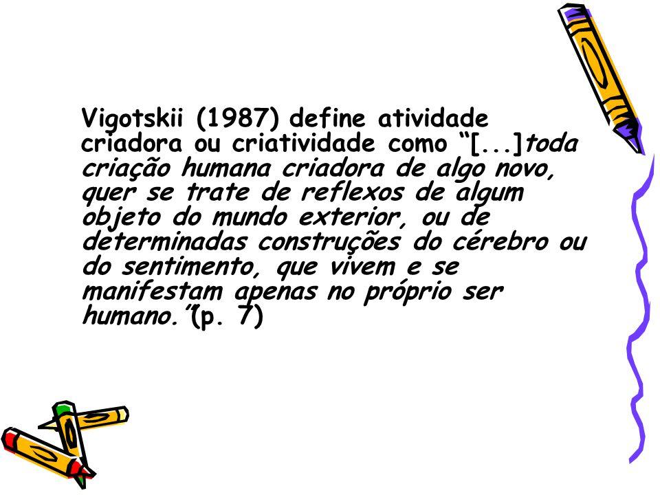 Vigotskii (1987) define atividade criadora ou criatividade como [